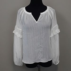 A new day white ruffled popover blouse size small